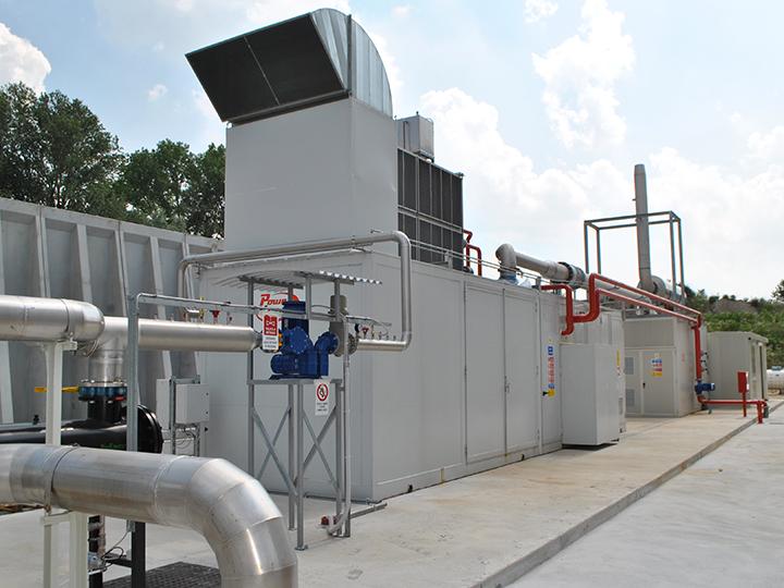 Container di un impianto di cogenerazione in una azienda agricola in provincia di Pordenone